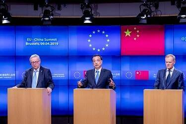 Mr Jean-Claude Juncker (President of the European Commission), Mr Li Keqiang (Prime Minister of China) and Mr Donald Tusk (President of the European Council) - press conference EU-China Summit April 2019
